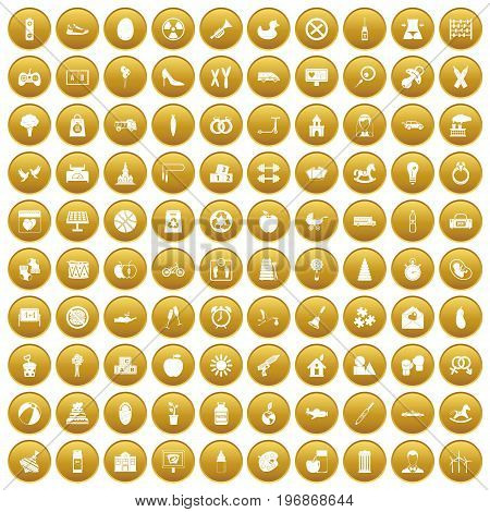 100 maternity leave icons set in gold circle isolated on white vector illustration