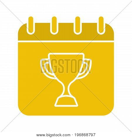 Competition day glyph color icon. Tournament date. Calendar page with winner's trophy cup. Silhouette symbol on black background. Negative space. Vector illustration