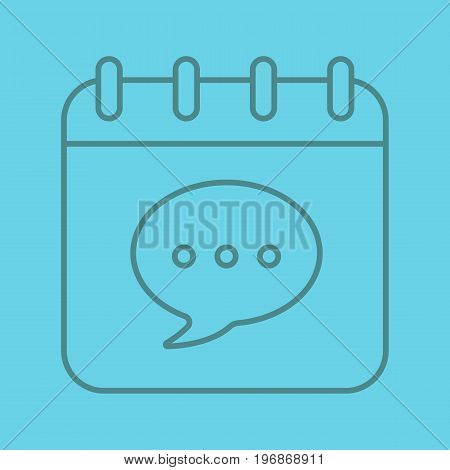 Calendar page with chat box linear icon. Thin line outline symbols on color background. Vector illustration