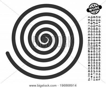 Hypnosis icon with black bonus work images. Hypnosis vector illustration style is a flat gray iconic element for web design, app user interfaces.
