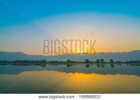 Sunrise on Dal lake, Kashmir India