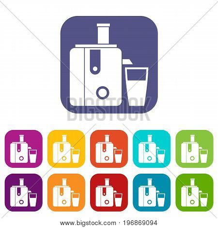 Juicer icons set vector illustration in flat style in colors red, blue, green, and other