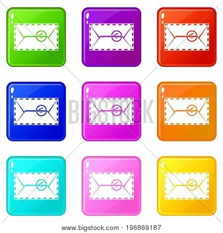 Mail envelope with a stamp icons of 9 color set isolated vector illustration