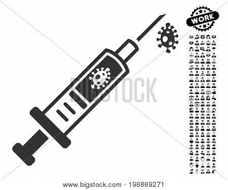 Infection Injection icon with black bonus men pictures. Infection Injection vector illustration style is a flat gray iconic symbol for web design, app user interfaces.