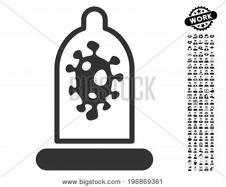 Infection Protection icon with black bonus men pictograms. Infection Protection vector illustration style is a flat gray iconic element for web design, app user interfaces.