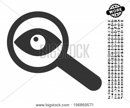 Investigate icon with black bonus people pictures. Investigate vector illustration style is a flat gray iconic element for web design, app user interfaces.