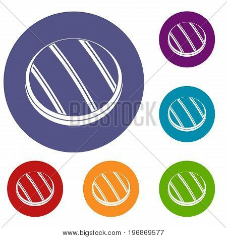 Grilled round beef steak icons set in flat circle red, blue and green color for web