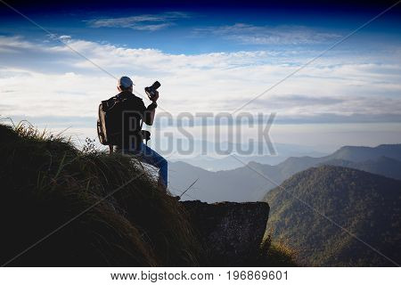 Tourist at the top of the mountain at beautiful view of Phu chi fa in Chiang rai Thailand