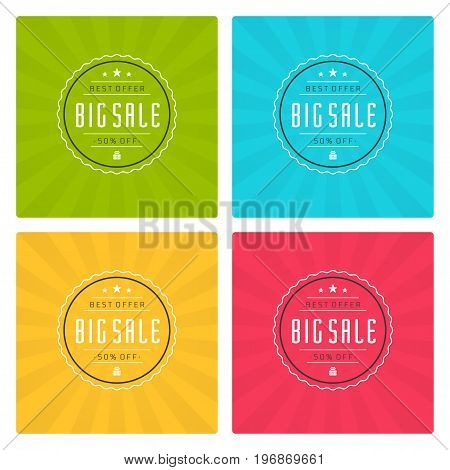 Sale Banners or Labels Vector Design Set. Collection for Promotional Brochure or booklet, Discount Poster, Shopping flyer, Clearance advertising.