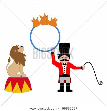 Lion and trainer on the white background. Vector illustration