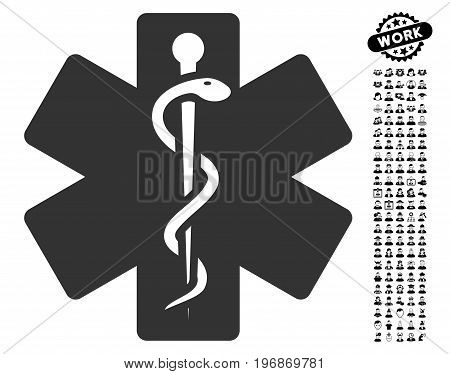 Life Star icon with black bonus work pictograph collection. Life Star vector illustration style is a flat gray iconic symbol for web design, app user interfaces.