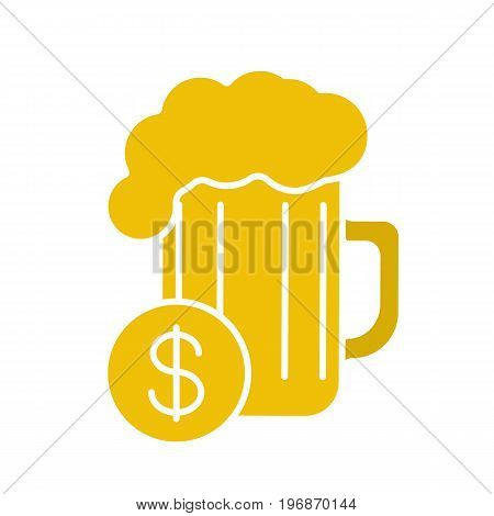 Buy beer glyph color icon. Beer glass with dollar sign. Silhouette symbol on white background. Negative space. Vector illustration