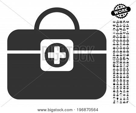 Medic Case icon with black bonus work icon set. Medic Case vector illustration style is a flat gray iconic element for web design, app user interfaces.