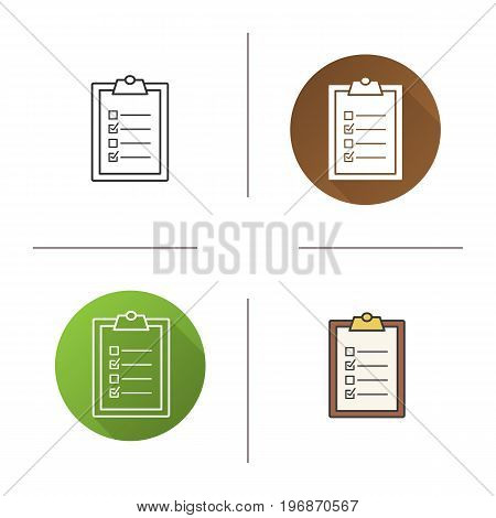 Clipboard checklist icon. Flat design, linear and color styles. To do list. Isolated vector illustrations