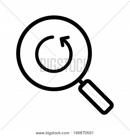 Refresh search linear icon. Thick line illustration. Magnifying glass with reload arrow contour symbol. Vector isolated outline drawing