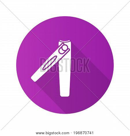 Manicure tweezers flat design long shadow glyph icon. Vector silhouette illustration