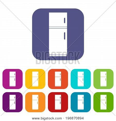 Refrigerator icons set vector illustration in flat style in colors red, blue, green, and other