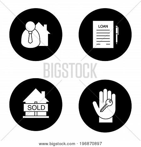 Real estate glyph icons set. Broker, hand with key, sold house, loan. Vector white silhouettes illustrations in black circles