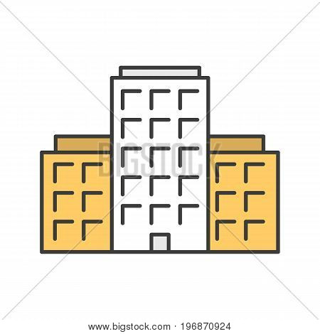 Multi-storey building color icon. Apartment house. Tower block. Isolated vector illustration