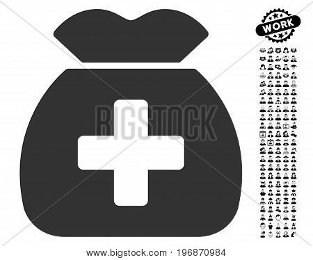 Medical Capital Fund icon with black bonus men pictures. Medical Capital Fund vector illustration style is a flat gray iconic symbol for web design, app user interfaces.