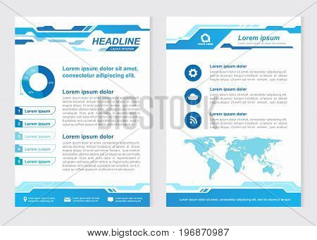Layout template size A4 Front page and back page abstract Innovative Blue tone Vector design