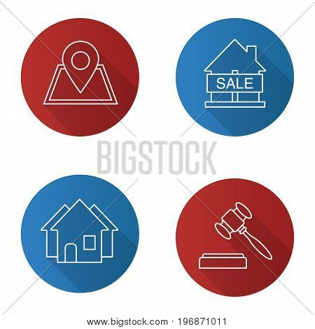 Real estate flat linear long shadow icons set. Building location, house for sale, gavel, three houses. Vector outline illustration