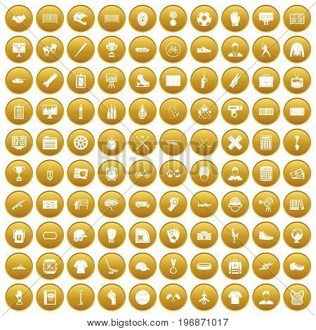 100 mens team icons set in gold circle isolated on white vector illustration