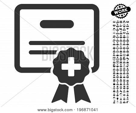 Medical Certification icon with black bonus people pictograms. Medical Certification vector illustration style is a flat gray iconic element for web design, app user interfaces.