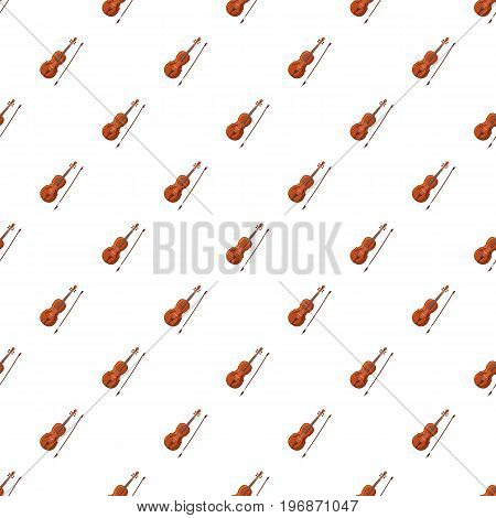 Violin with fiddlestick pattern seamless repeat in cartoon style vector illustration