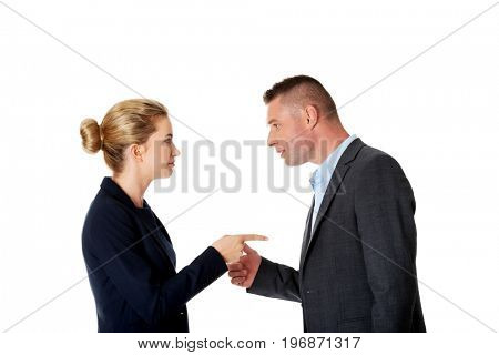 Business fight concept. Business people have conflict