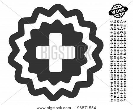 Medical Cross Stamp icon with black bonus people images. Medical Cross Stamp vector illustration style is a flat gray iconic element for web design, app user interfaces.