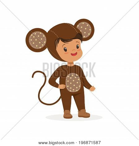 Cute happy boy dressed as a monkey, kids carnival costume vector Illustration isolated on a white background