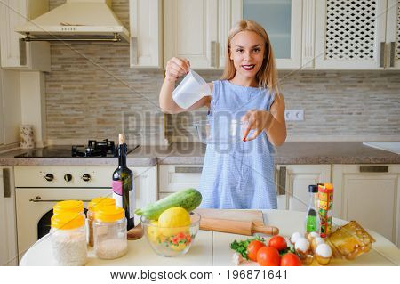 Concept Of Happy Housewife Cooking