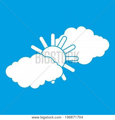 Sun and clouds icon white isolated on blue background vector illustration