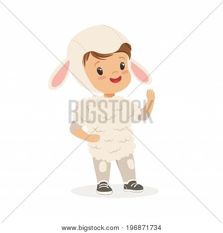 Cute little boy dressed as a white lamb, kids carnival costume vector Illustration isolated on a white background