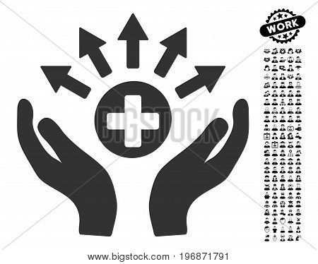 Medical Distribution Care Hands icon with black bonus people design elements. Medical Distribution Care Hands vector illustration style is a flat gray iconic symbol for web design,