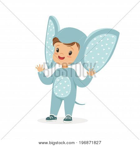 Cute happy boy dressed as an elephant, kids carnival costume vector Illustration isolated on a white background