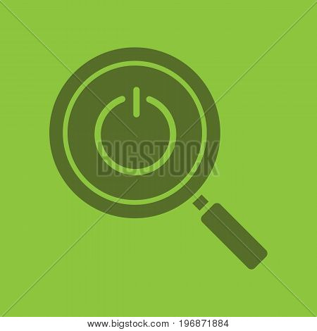 Magnifying glass with turn off button glyph color icon. Silhouette symbol. Negative space. Vector isolated illustration