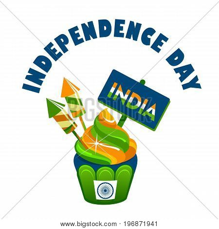 Vector illustration india day independence of the state festive cake colored badge on a white background