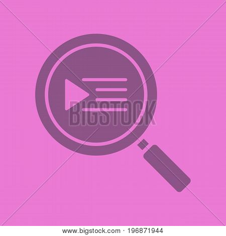 Playlist search glyph color icon. Silhouette symbol. Magnifying glass. Negative space. Vector isolated illustration