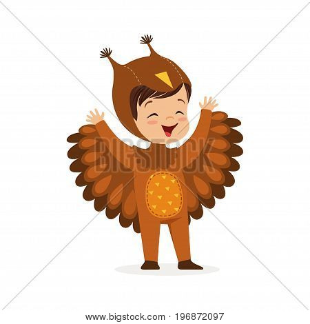 Cute happy little boy dressed as an owl, kids carnival costume vector Illustration isolated on a white background