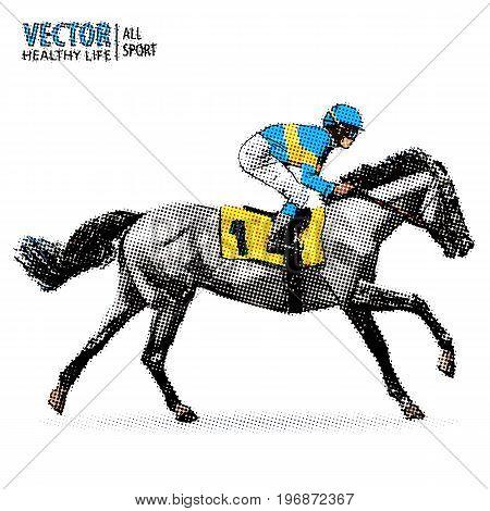 Jockey on horse. Champion. Horse racing. Hippodrome. Racetrack. Jump racetrack. Racing horse. Sport. Pop art style vector illustration. Comic book style imitation Vintage style