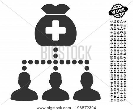 Medical Fund Clients icon with black bonus professional pictograph collection. Medical Fund Clients vector illustration style is a flat gray iconic element for web design, app user interfaces.