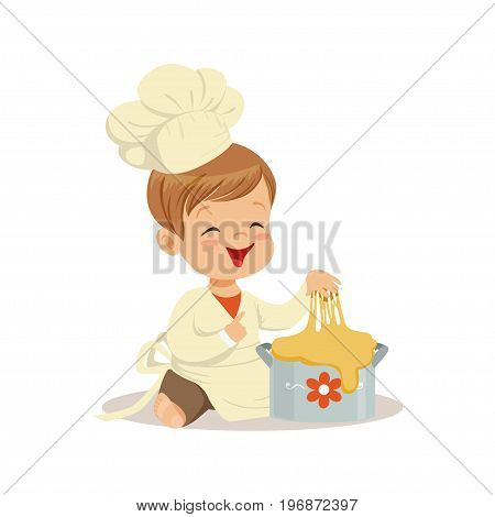 Cute smiling little boy chef kneading a dough vector Illustration isolated on a white background