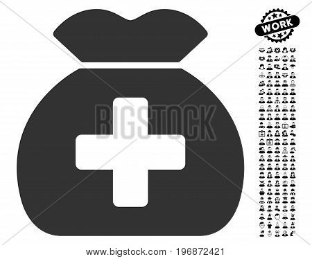 Medical Fund Sack icon with black bonus men graphic icons. Medical Fund Sack vector illustration style is a flat gray iconic symbol for web design, app user interfaces.