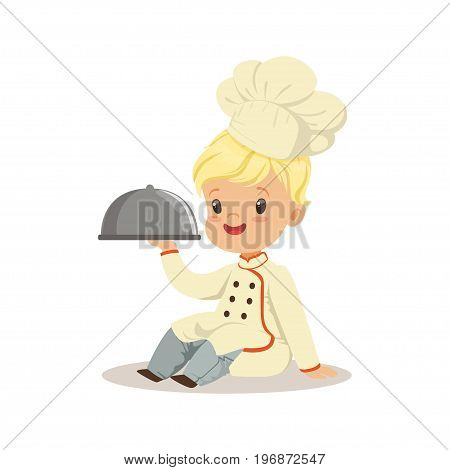 Cute little boy holding a silver cloche food platter vector Illustration isolated on a white background