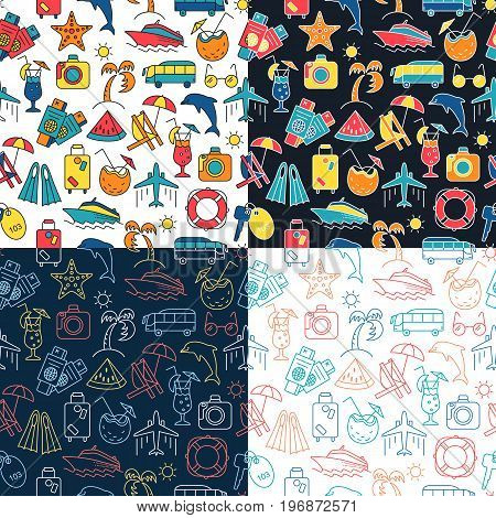 Summer Vacation pattern. Vector illustration of seamless pattern with summer symbols.