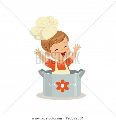 Cute little boy chef sitting in the pot vector Illustration isolated on a white background