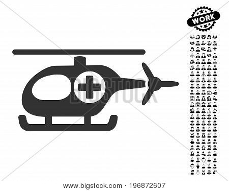 Medical Helicopter icon with black bonus profession design elements. Medical Helicopter vector illustration style is a flat gray iconic symbol for web design, app user interfaces.