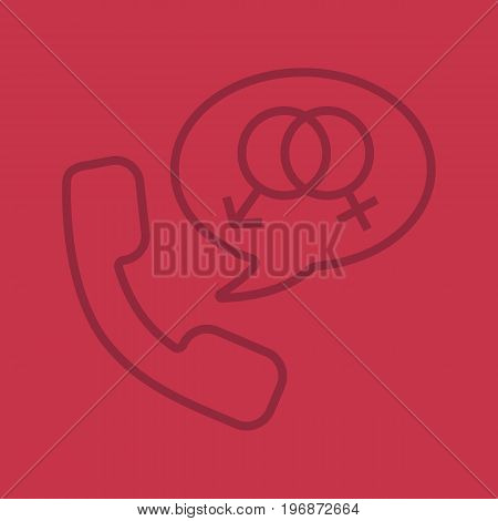 Phone sex linear icon. Handset with man and woman gender signs inside speech bubble. Thin line outline symbols on color background. Vector illustration